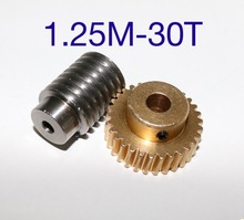 цена на 1Set 1.25M-30T Reduction Ratio:1:30 Copper Worm Gear Reducer Transmission Parts  -Gear Hole:10mm  Rod Hole:10mm