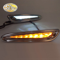 SNCN 2PCS LED Daytime Running Light For Mazda 3 2011 2012 2013 Yellow Signal Functions Chromed