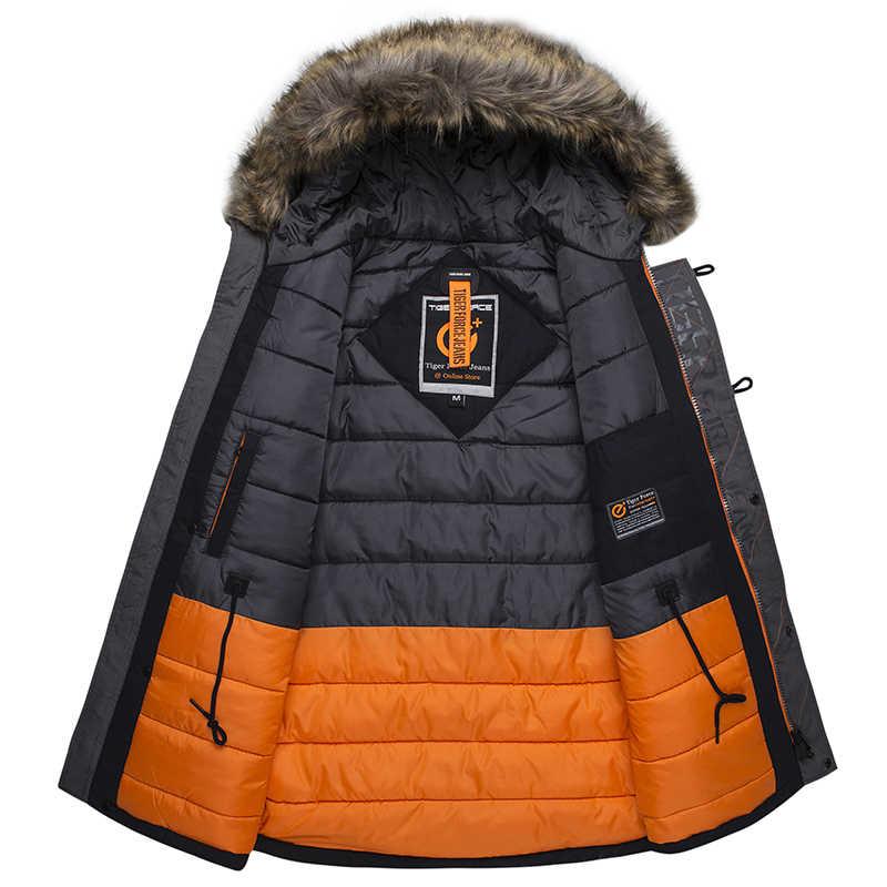 虎力冬のジャケット男性パーカーロシア男冬のコート人工毛皮ビッグポケット中 · 長期厚手のパーカー snowjacket