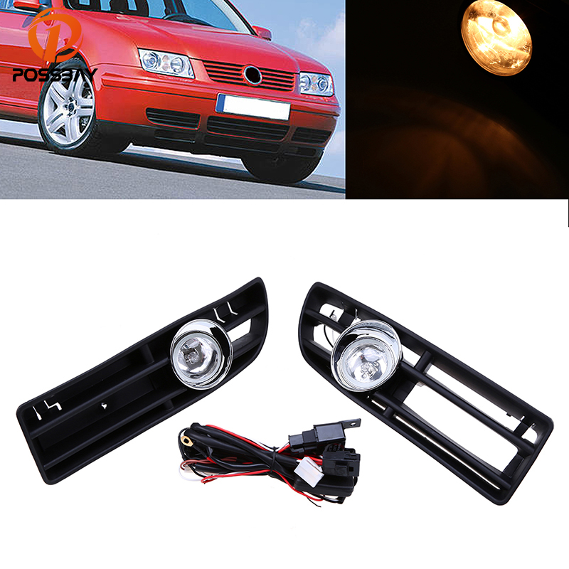 POSSBAY Front Fog Light Lamp Lower Grille Car Day Running Lights Auto Racing Grills for 1999-2007 VW Bora Jetta MK4 beler car grey interior dome reading light lamp itd 947 105 fit for vw golf jetta mk4 bora 1999 2004 passat b5 1998 2005