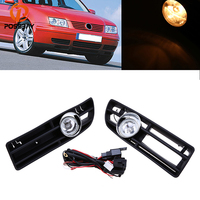 POSSBAY Front Fog Light Lamp Lower Grille Car Day Running Lights Auto Racing Grills for 1999/2000/2001 2007 VW Bora Jetta MK4