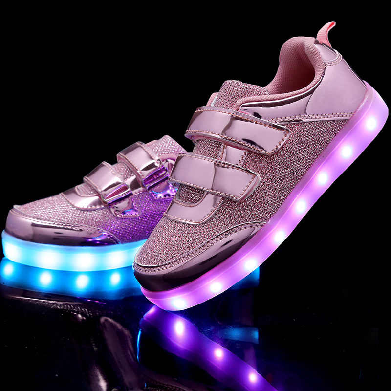 Children Led sneakers with usb Breathable Light Up sneaker Canvas lighted shoes girls boys Kids Green Glowing Led shoes