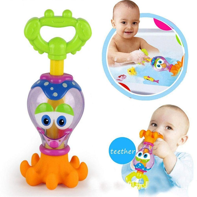 Funny Baby Bath Toys Plastic Water Gun Cartoon Octopus Pool Bathroom Toys Change Educational Toy