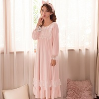Winter Thick Warm Flannel Long Sleepwear For Women Long Sleeve White Lace Vintage Princess Nightgowns Three Colors 8010