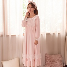 60235d1c25 Winter Thick Warm Flannel Sleepwear For Women Long Sleeve White Lace  Vintage Princess