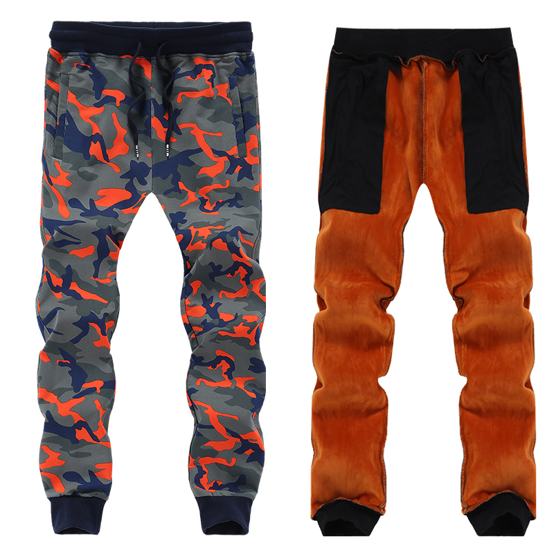 135kg Can Wear Warm Winter Sports Pant Men 7XL 8XL Big Size Trousers Gym Sweatpants Camouflage Pattern Thermal Fitness Run Pants camouflage pattern drawstring design trousers co ord