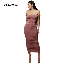 купить 2019 New Summer Women Sheath Maxi Dress Off-Shoulder Slim Elegant Party Long Dress Luxurious Vintage Fold Vestidos Femme robe дешево