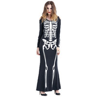 Umorden Halloween From the Grave Skelelicious Costume Women Scary Skeleton Dress for Adult Ghost Cosplay Long Dress