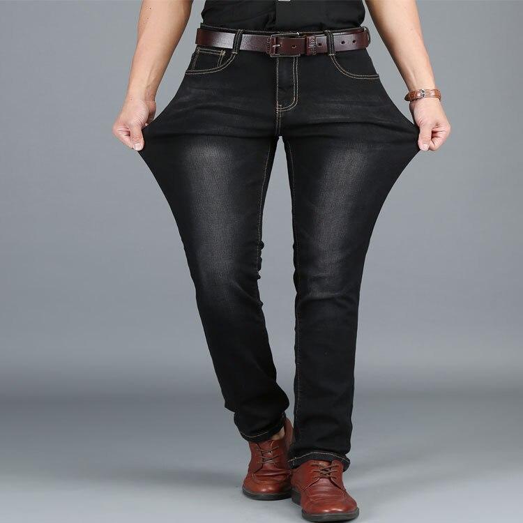 Mens Stretch Denim Slim Jeans Men Black Blue Fashion Trendy Trousers Pants Size 36 38 40 42 44 48 For Men's Jean