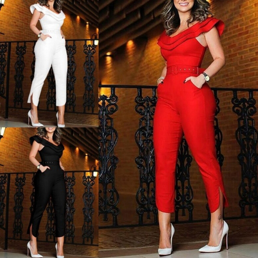 Womens Summer Fintness Ruffle red   jumpsuit     Jumpsuit   V-neck Sleeveless Solid Silk Bodysuit palazzo mujer   jumpsuit  #35