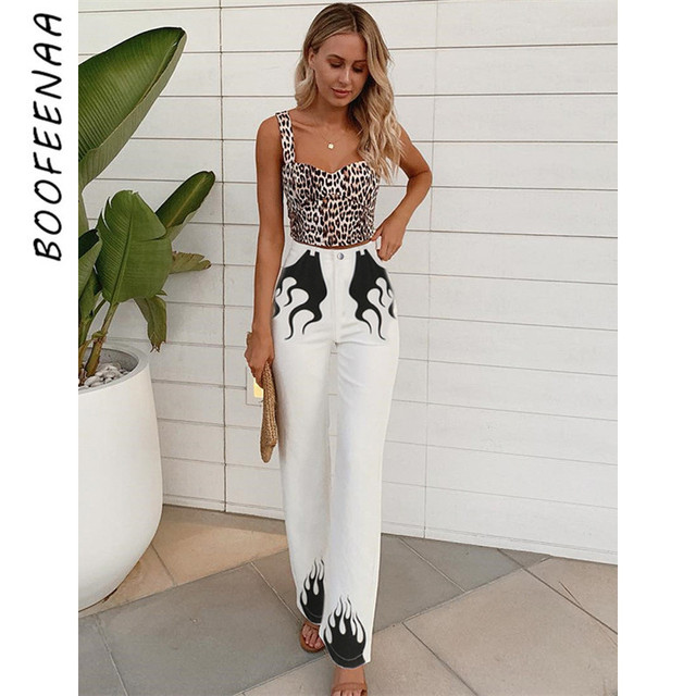 BOOFEENAA Flame Printing White High Waist Flare Pants Women Spring Summer 2019 Fashion Casual Boot Cut Bell Bottoms C84-AE02