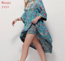 2018 fashionvNew Women Summer V Neck Vintage Boho Long Maxi Floral National Dress  Party Beach Dress Floral tassel dressesb s-5x 7169019fb5e8