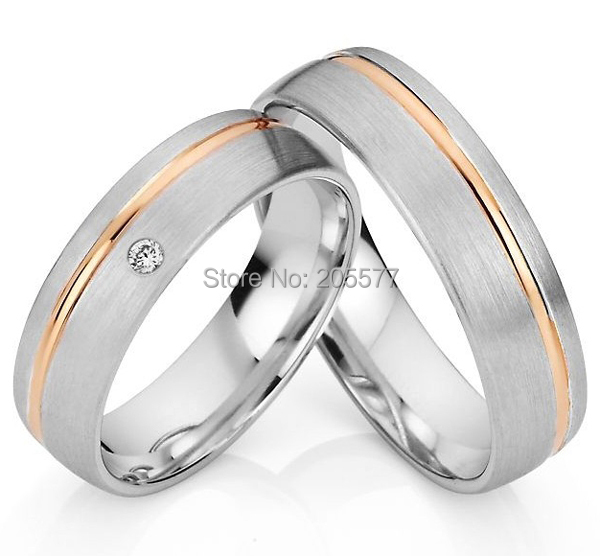 bicolor western rose gold plating health titanium custom egagement ring wedding bands ring sets
