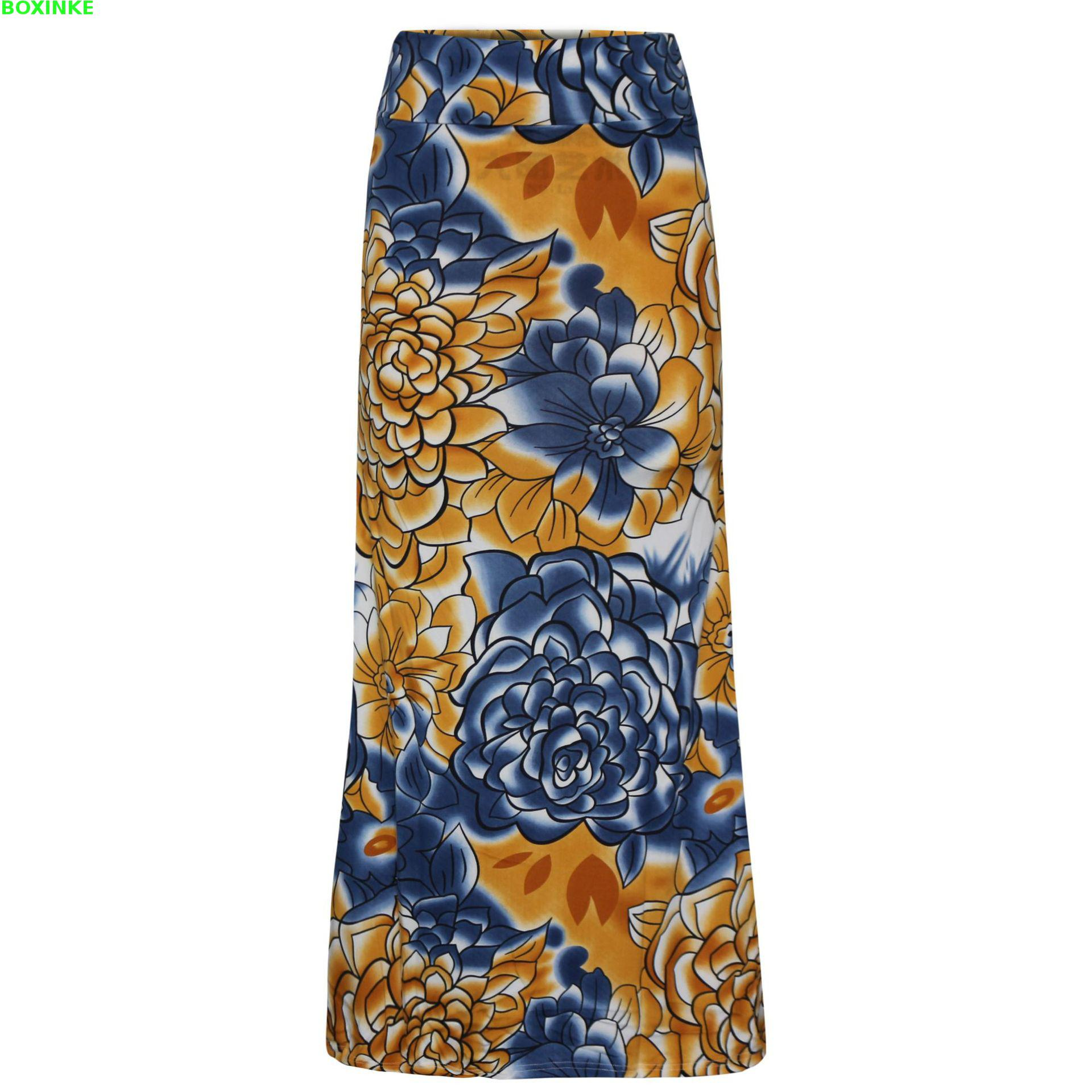 Skirts Print Rushed Midi New Printed Half length Skirt Of Europe And America High Waist Hip Fishtail Knitted Long Skirt 2019 in Skirts from Women 39 s Clothing