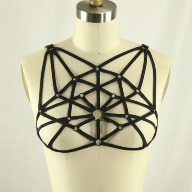 2016 new pastel goth mesh chest strap bust body harness O ring body harness sexy lingerie top cage bra  garter belt retail