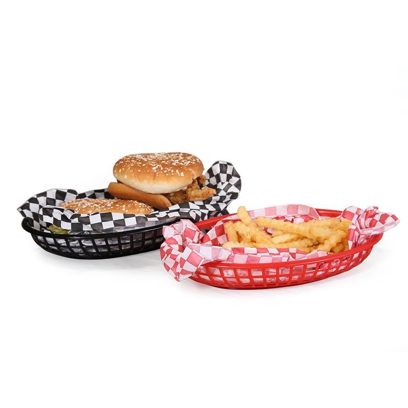 6pcs Fast Burger Sandwich Serving Tray Red French Fries Basket Plastic Picnic Plates Black Oval Dinner Bandeja Restaurant 9.5''