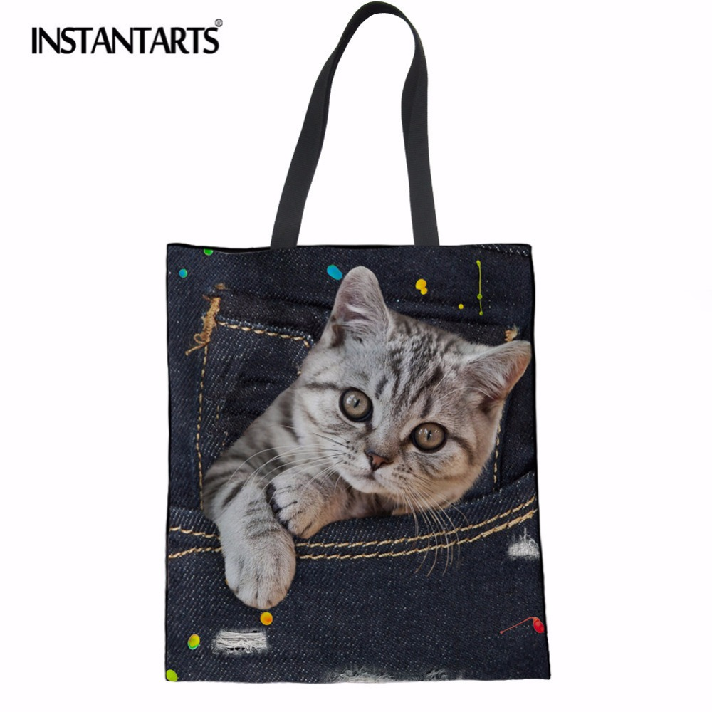 INSTANTARTS Denim 3D Cute Animal Cat Printed Luxury Women Large Shopping Bag Tote Sholder Bag for Ladies Linen Handbag Bag Woman instantarts famous brand women s large handbags cute animal cat dog shoulder bag ladies big tote bag designer women top hand bag