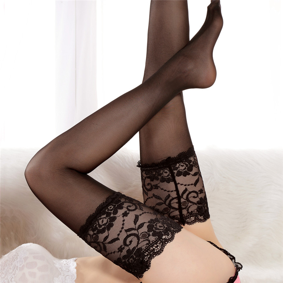 Top Quality 14 Cm Lace Women Nylon Thigh High Stockings Ladies Sexy Widen Sexy Stockings Pantyhose 5 Color