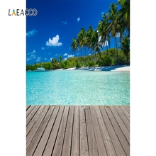 Laeacco Wooden Board Palm Tree Sea Backdrop Summer Photography Backgrounds Customized Photographic Backdrops For Photo Studio