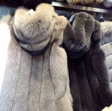sleeveless womens fur winter fashion ladies new 2018 Korean hooded coat vest imitation fox long Coat