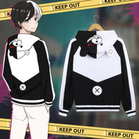 Danganronpa Monokuma Hoodie Japanese Anime Unisex Bear Hooded Jacket Cosplay Halloween Party Hoodies Thin Autumn Coat