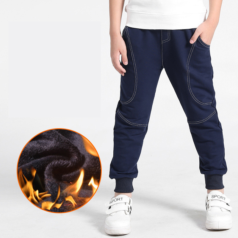 Kid Boys Casual Sport Warm Thick Pant Fleece Lined Elastic Waist Thermal Trouser
