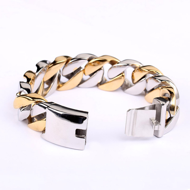 Clic Heavy Two Tone Style Gold Color Mens Bangle Friendship Bracelets