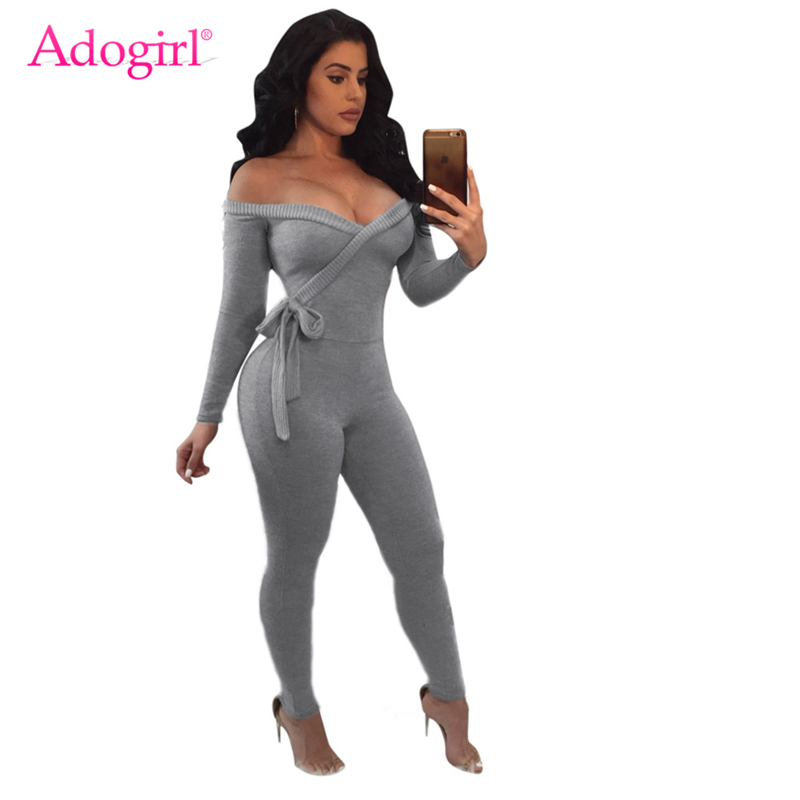 Adogirl Solid Wrap V Neck Off Shoulder Bandage   Jumpsuit   Women Sexy Long Sleeve Bow Tie Romper Casual Overalls Club Party Outfits