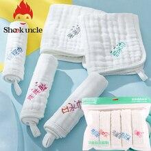 5 шт./компл. белый 6 слоев хлопка марлевые детское полотенце для лица мягкие детские полотенца мыть матерчатые носовые платки питание новорожденного слюны полотенца s