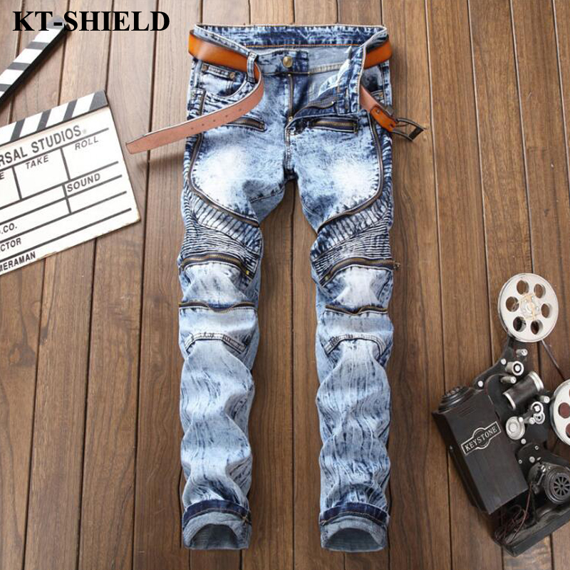 New High Quality Men Jeans Zipper Denim Ripped Jeans Pants Male Vaqueros Hombre Street Clothing Hip Hop Jeans Long Pants