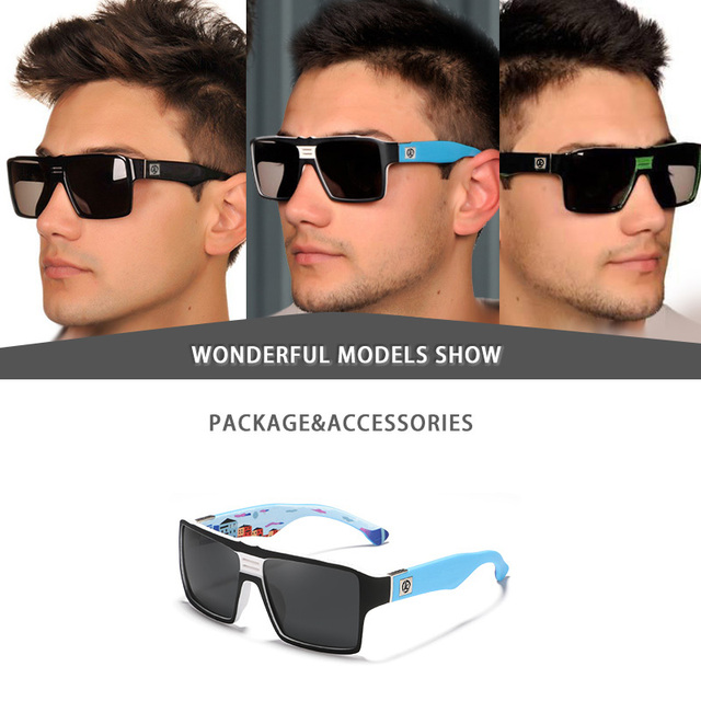 KDEAM Square Mirror Polarized Sunglasses Men Sports Sun Glasses Matte Soft Cover Frame Uv400 Protection With Case Kd365