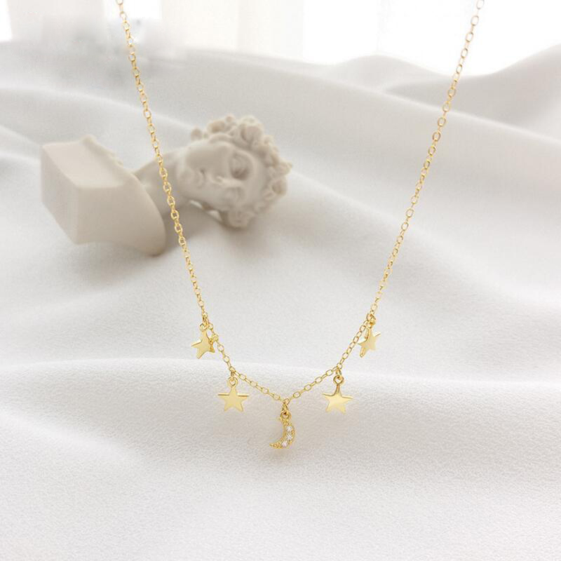 40+5cm Gold Color 925 Sterling Silver Cute Star Charm Moon Pendant Necklace Christmas Gift Delicate Chain micro pave CZ necklace