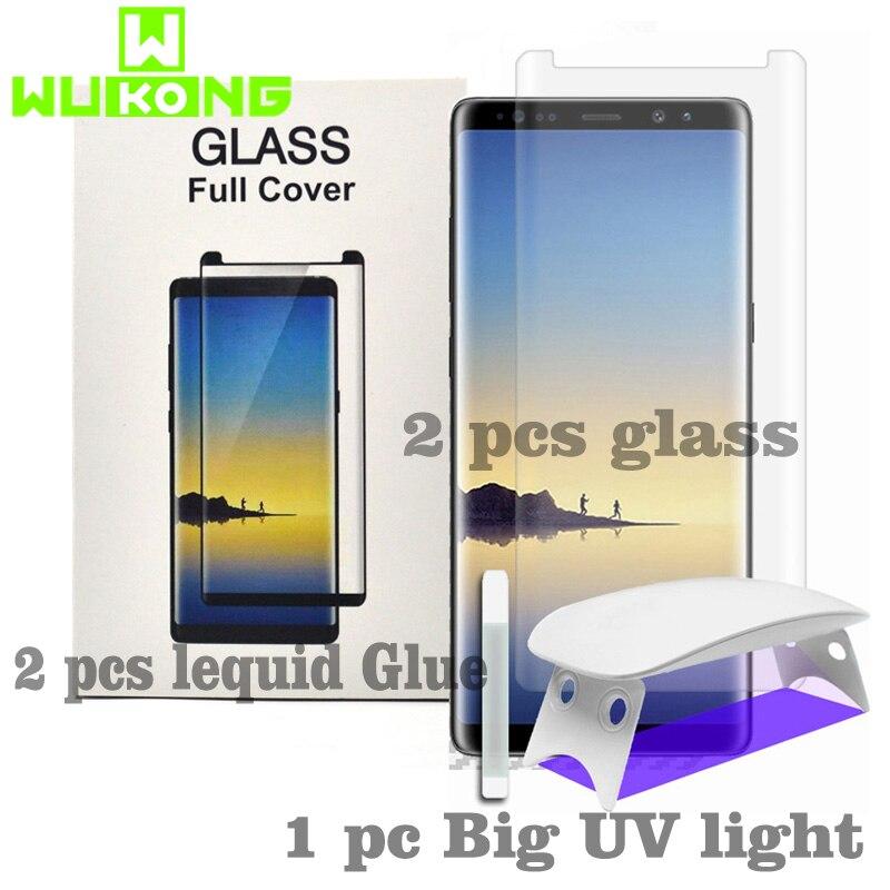 2 unids Protector de pantalla para Samsung S8 S9 más S7 borde curvo de cristal templado de líquido completa pegamento luz UV para Galaxy Note8 Nota 9