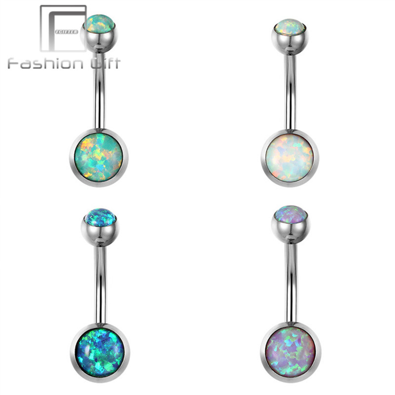 2017 New Navel Piercing Sex Fire Opal Rings G23 Titanium Barbell 1 6 10 5 8mm Belly Button Ring Body Jewelry