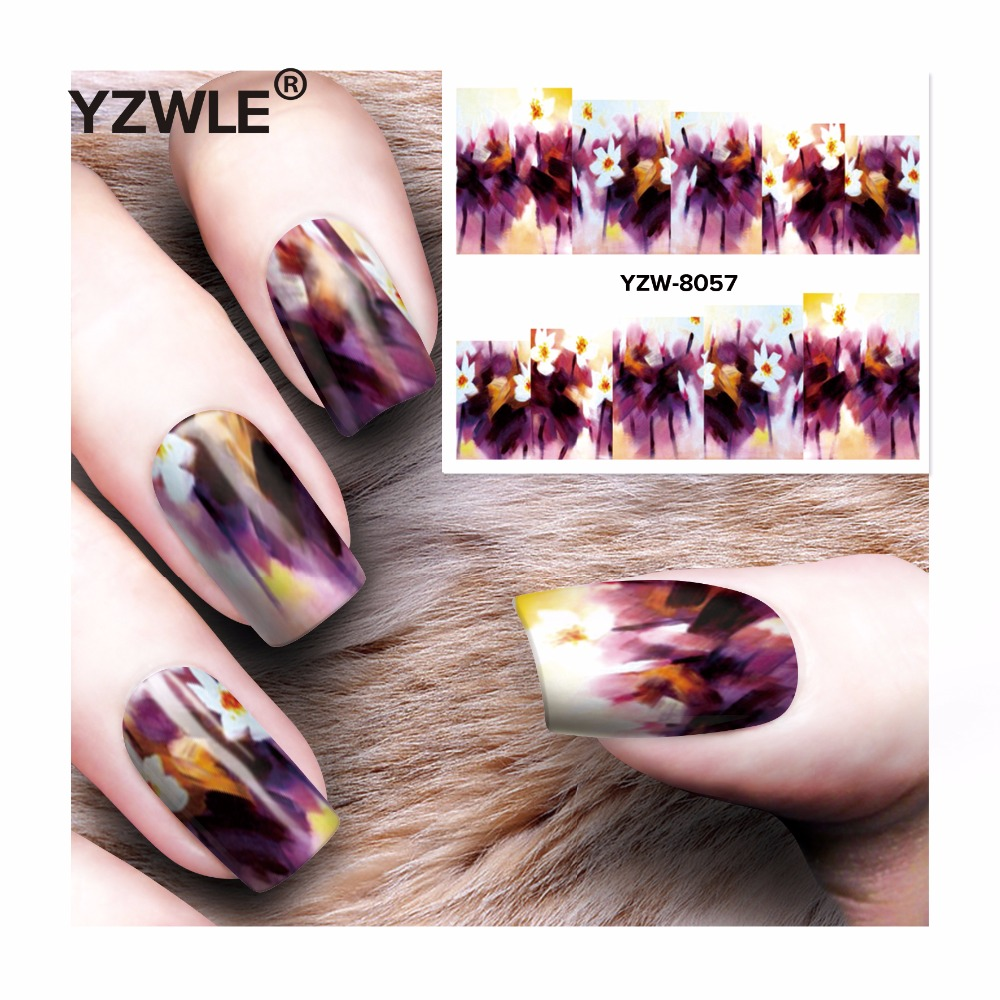 YZWLE 1 Sheet DIY Decals Nails Art Water Transfer Printing Stickers Accessories For Manicure Salon  YZW-8057 yzwle 1 sheet hot gold 3d nail art stickers diy nail decorations decals foils wraps manicure styling tools yzw 6015