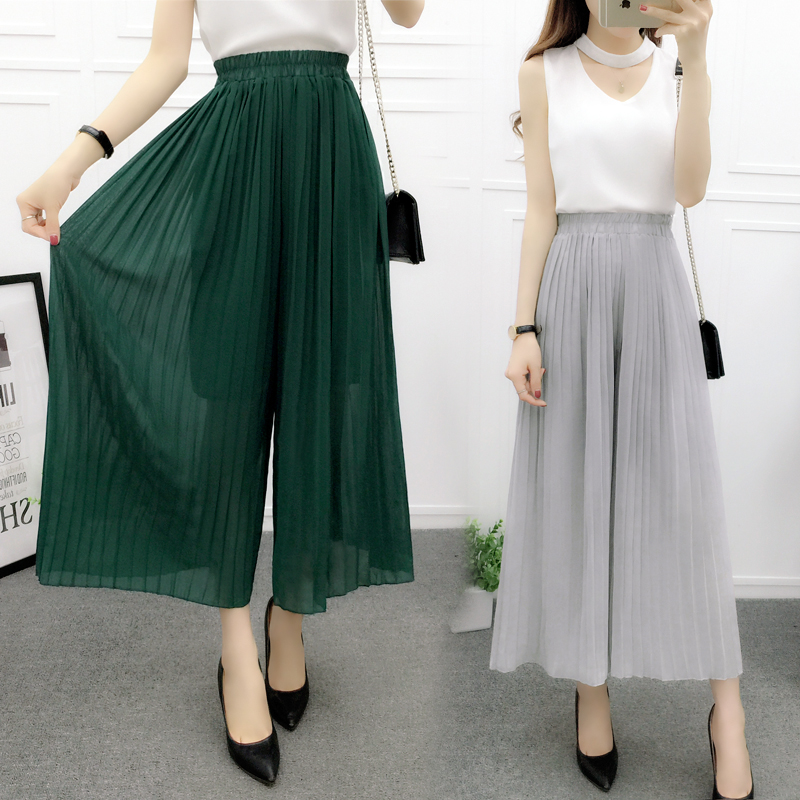 Solid Loose Trousers 2018 Spring Summer Style Female Chiffon Pleated Skirts   Pants   Women   Wide     Leg     Pants   Elastic Waist Culottes