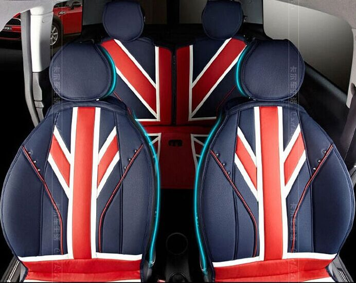 Red union jack leather four seasons leather car Seat Covers for Mini Cooper s convertible R56 Countryman Clubman F55 F56 universal union jack 38cm pu leather car steering wheel cover decoration for mini cooper jcw s clubman countryman car styling