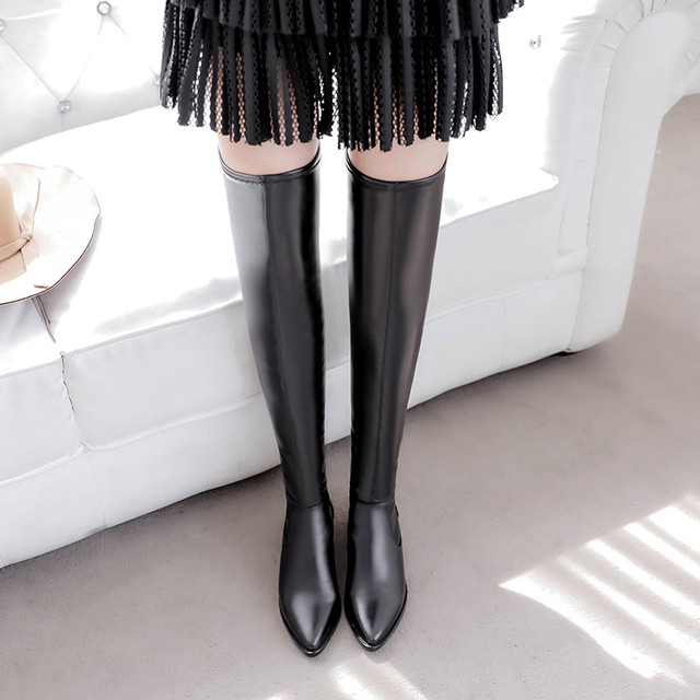 luxury brand platform thigh high boots autumn winter shoes woman leather boots designer botas mujer over the knee boots women