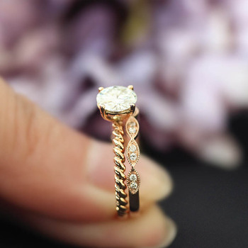 DUPUY 14K Rose Gold Engagement Rings Set 1.0ct Cut Forever Classic Ring&Half Eternity Conflict Diamond Wedding Ring D180381 2