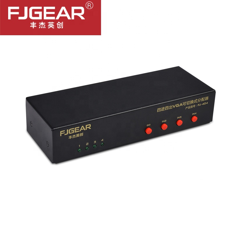 VGA Video Switch <font><b>Splitter</b></font> <font><b>4</b></font> in <font><b>4</b></font> out PC Selector Image Distributor Support 1920*1440 250MHz for PC <font><b>Monitor</b></font> TV Projector Metal image