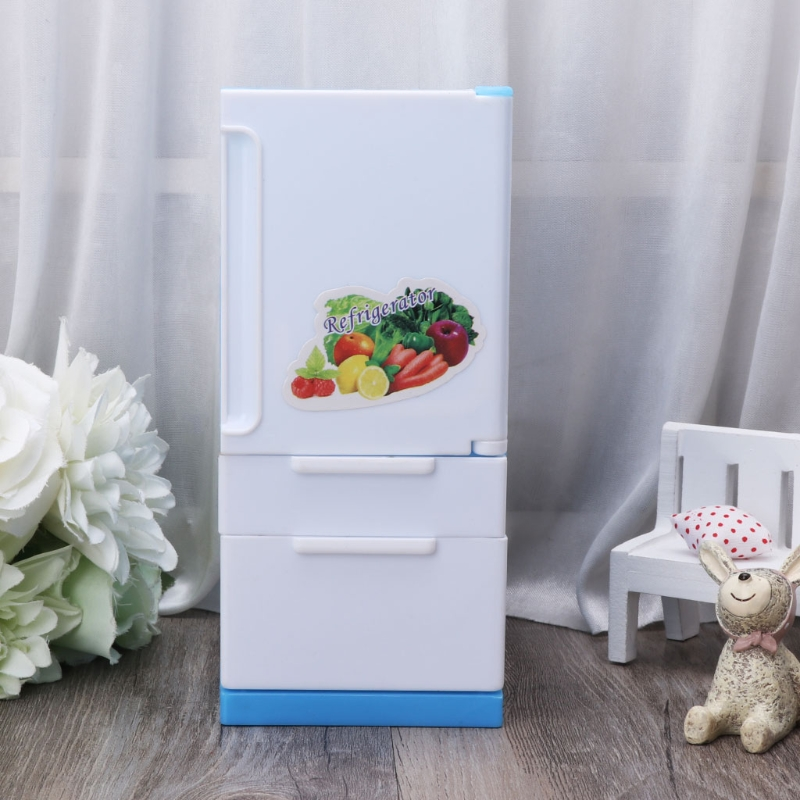 Refrigerator Play Set Doll House Doll Fridge Freezer With Food Kid Toy Furniture Toy For Children