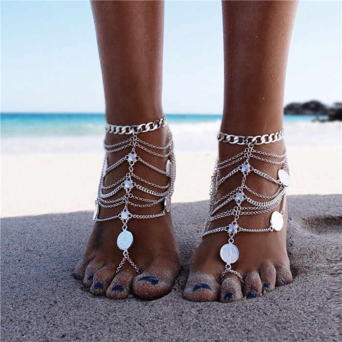 Sandal Beach Anklet Chain Summer Anklet Bracelet for Women Big Coin Pendant Silver Anklet Foot Jewelry  CBD23