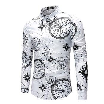 Long Sleeve Camisa Masculina Slim Fit Printed Shirts Casual White Hawaiian Shirt Male Men Flower Floral Shirt 2019 Blouse