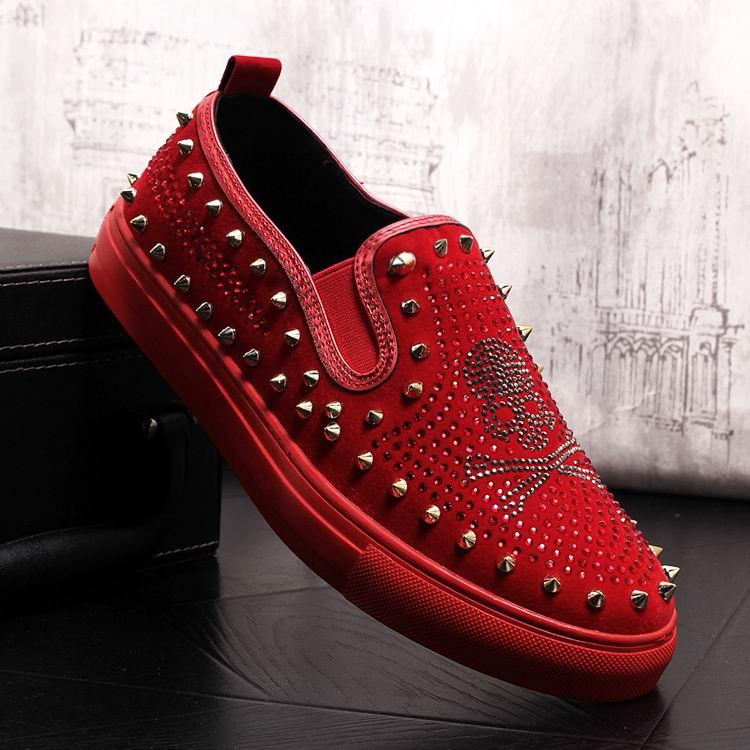 Rivets Charm Fashion Forward Men Casual Comfort Shoes Red Slip On Rhinestone Skull Charm Man Leisure Boast Shoes 38-43 11