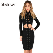 SheInGirl 2017 Spring sexy bandage dress Women Black Cut Out Bodycon Midi Dress female Party Wrap Dress Casual Vestidos