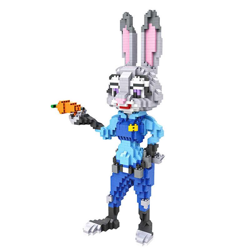 Blocos LOZ 9029 9031 Diamante Animais Figuras de Ação Conjunto Coelho da Raposa de Montagem Educacional Blocos de Construção de Tijolos Brinquedos para As Crianças