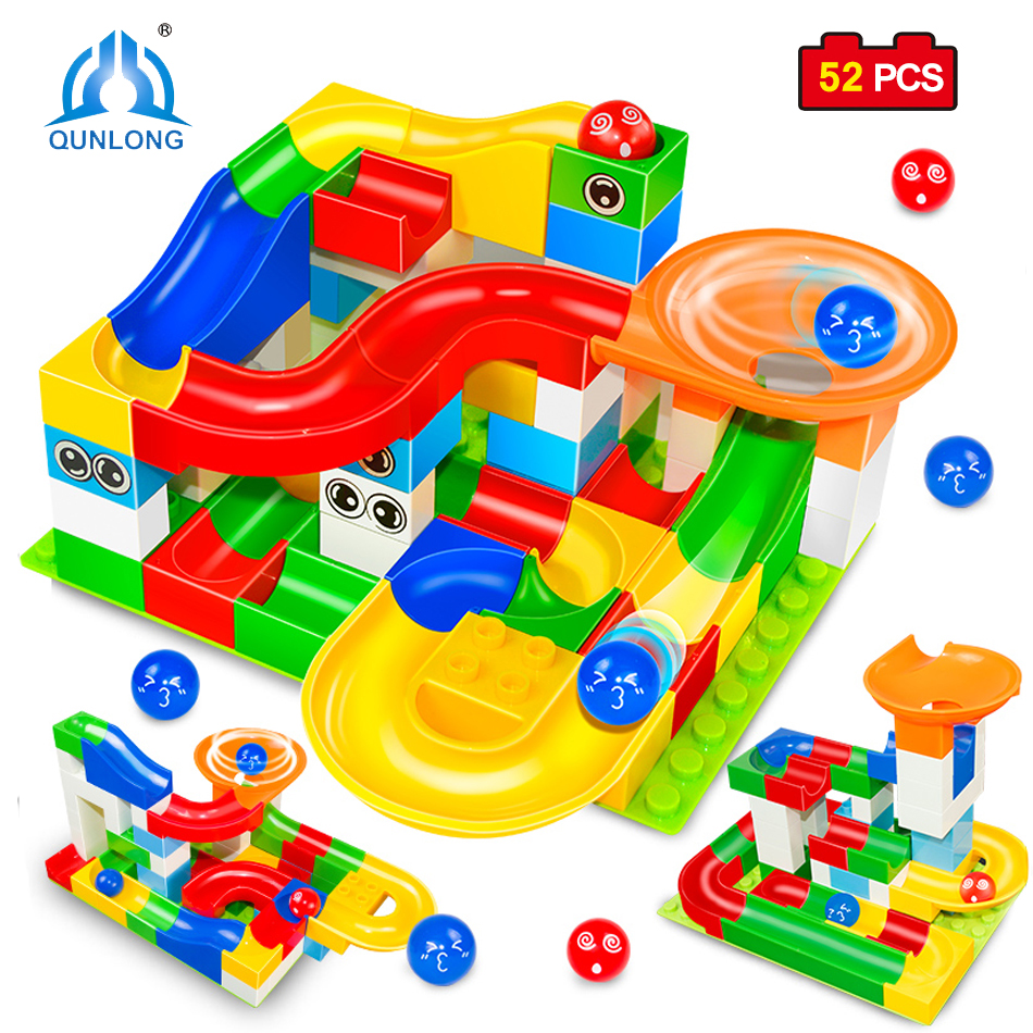 Qunlong Toys Funny DIY Race Run Track Colorful Construction Balls Rolling Track Big Size Building Blocks Compatible Legoe Duplo 240pcs racing track diy assembly set toy rollercoaster vehicle car toys miraculous race track bend flash track xmas kids gifts