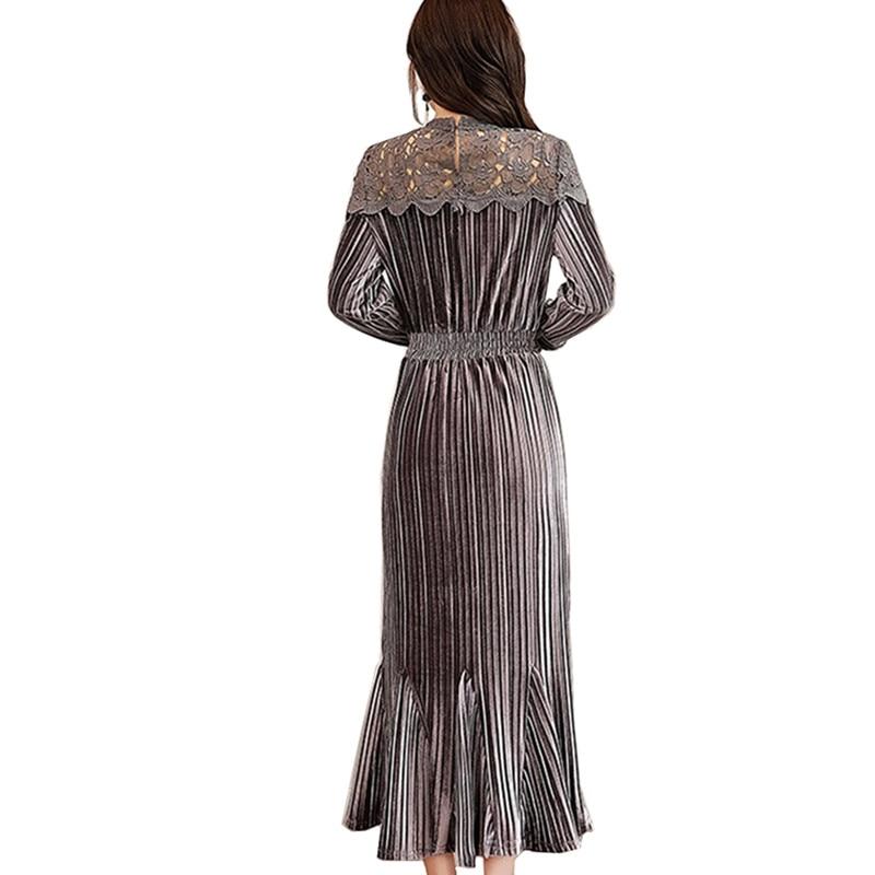 Taille black Dentelle Bande Robe Mode Sirène De Swing Gray Couture Ioqrcjv Mince Élastique Longue Velours Or Printemps Big Femmes H151 nxqPHYF