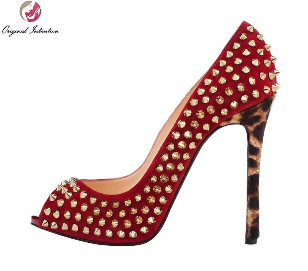 ФОТО Original Intention Plus Size 4-15 Stylish Women Pumps Rivets Thin Heels Pumps Fashion High-quality Shoes Woman