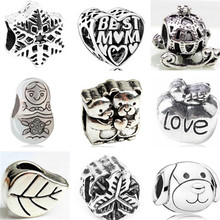 Btuamb Vintage Punk Owl Star Love Heart Alloy Charm Beads Fit Original Pandora Charm Bracelets & Bangles Women Making Jewelry(China)